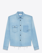 SAINT LAURENT Denim shirts D Oversized shirt printed with PROPERTY in faded blue denim f