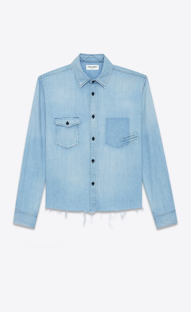 SAINT LAURENT Denim shirts Woman Oversized shirt printed with PROPERTY in faded blue denim a_V4