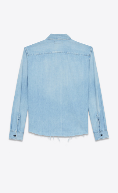 SAINT LAURENT Denim shirts Woman Oversized shirt printed with PROPERTY in faded blue denim b_V4