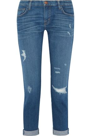 CURRENT/ELLIOTT Distressed slim boyfriend jeans