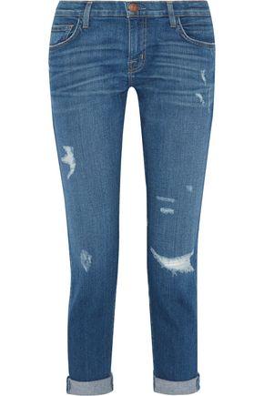 CURRENT/ELLIOTT Distressed slim boyfriend jeans
