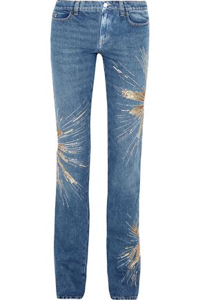 ATTICO Ava embellished low-rise slim-leg jeans