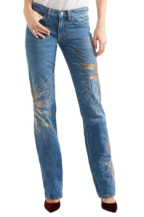 Ava embellished low-rise slim-leg jeans | ATTICO | Sale up to 70% off | THE  OUTNET