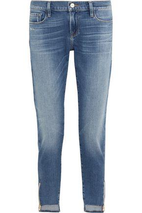 FRAME Garcon distressed mid-rise slim boyfriend jeans