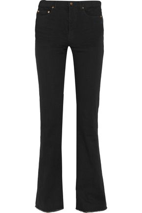 SAINT LAURENT Frayed high-rise flared jeans