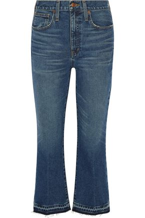 MADEWELL Cropped frayed mid-rise flared jeans