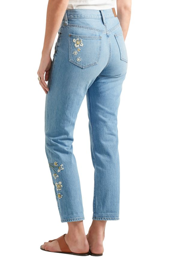 Embroidered high-rise straight-leg jeans   MADEWELL   Sale up to 70% off    THE OUTNET