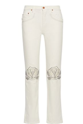 BLISS AND MISCHIEF Song of the West embroidered straight-leg jeans