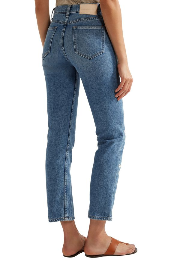 Chamomile embroidered high-rise straight-leg jeans | BLISS AND MISCHIEF | Sale  up to 70% off | THE OUTNET
