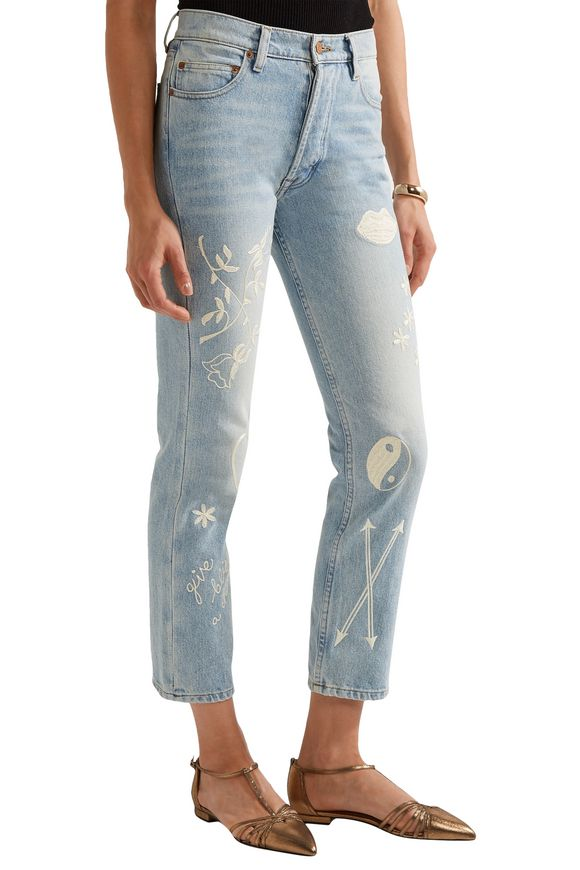 Study Hall embroidered high-rise straight-leg jeans | BLISS AND MISCHIEF | Sale  up to 70% off | THE OUTNET