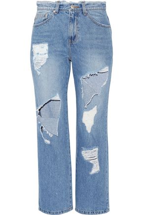 SJYP Cropped distressed high-rise straight-leg jeans