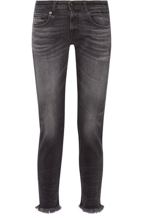 R13 Boy Skinny frayed mid-rise slim boyfriend jeans
