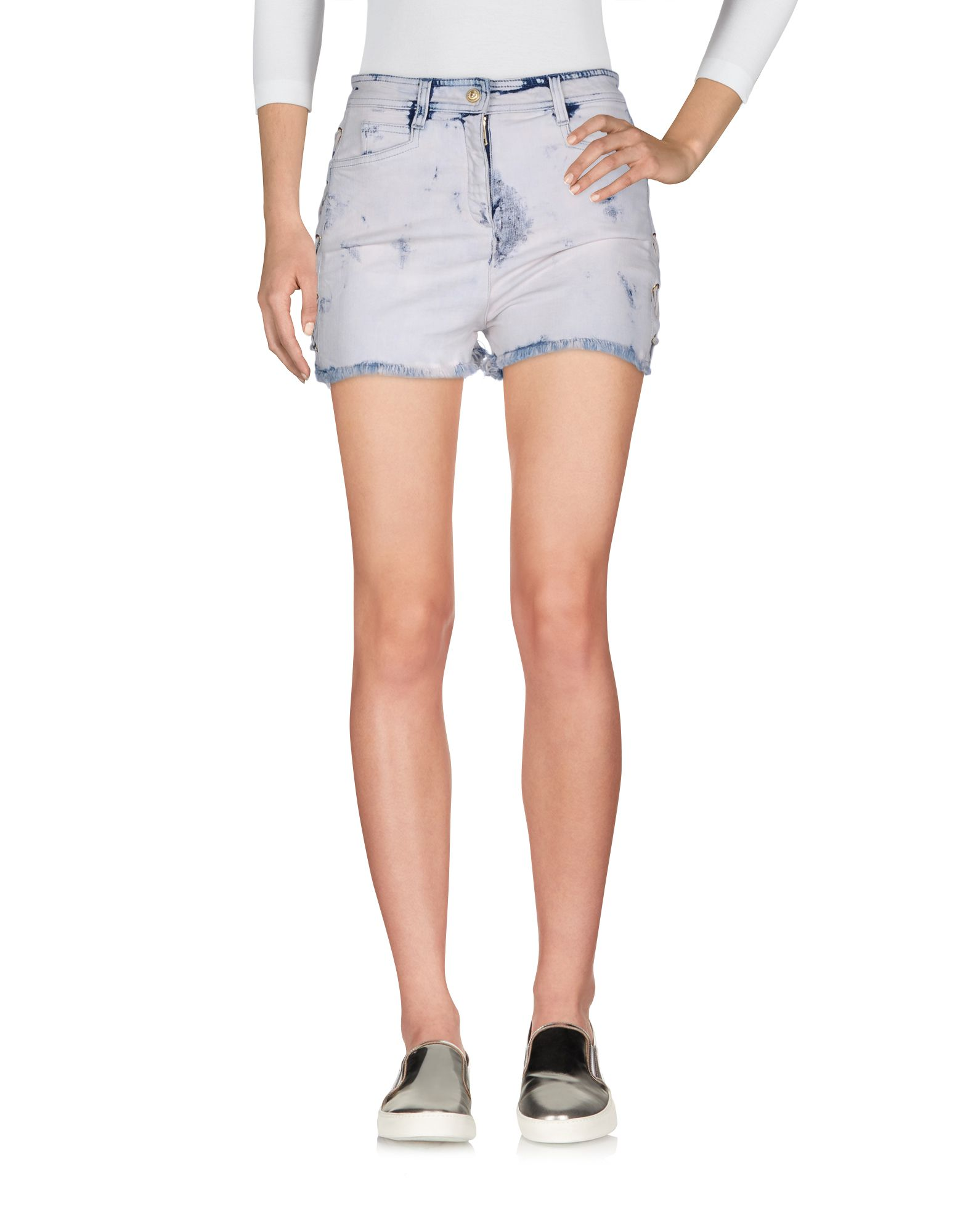 BALMAIN Denim shorts. denim, fringe, lacing, solid color, colored wash, stained effect, mid rise, front closure, snap-buttons, zip, multipockets, stretch. 98% Cotton, 2% Elastane