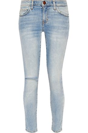 CURRENT/ELLIOTT Cropped mid-rise distressed skinny jeans