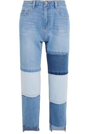 SJYP Patchwork cropped high-rise straight-leg jeans