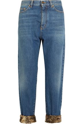 SAINT LAURENT Cropped sequin-embellished high-rise boyfriend jeans