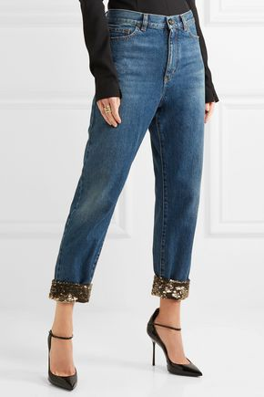 ... SAINT LAURENT Cropped sequin-embellished high-rise boyfriend jeans ...