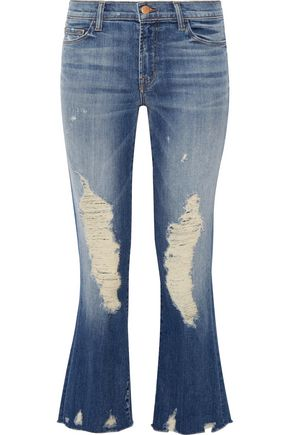 J BRAND Distressed mid-rise flared jeans