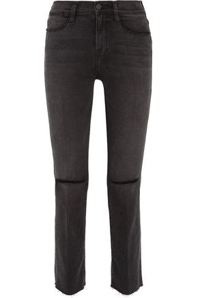 BY FRAME Le High distressed mid-rise straight-leg jeans