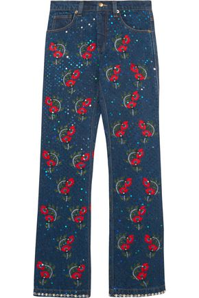 ASHISH Voyage embellished embroidered mid-rise straight-leg jeans
