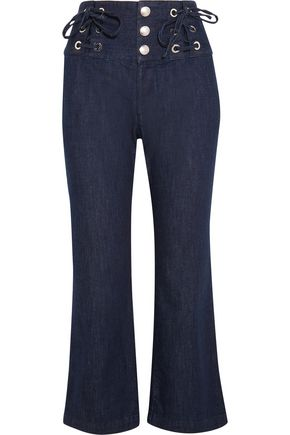 SEE BY CHLOÉ Cropped lace-up high-rise flared jeans