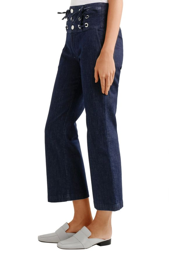 Cropped lace-up high-rise flared jeans | SEE BY CHLOÉ | Sale up to 70% off  | THE OUTNET