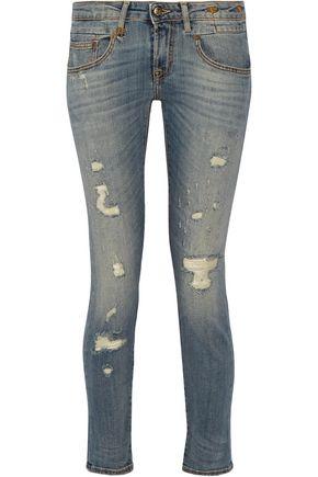 R13 Boy distressed mid-rise skinny jeans