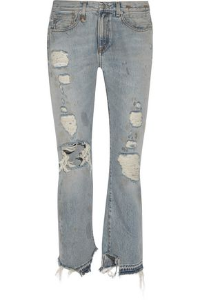 R13 Bowie distressed high-rise straight-leg jeans