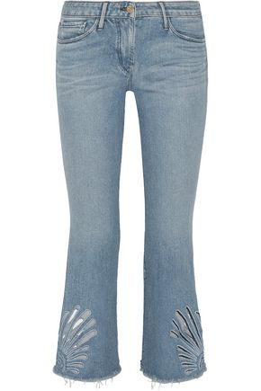 cropped cutout high-rise bootcut jeans