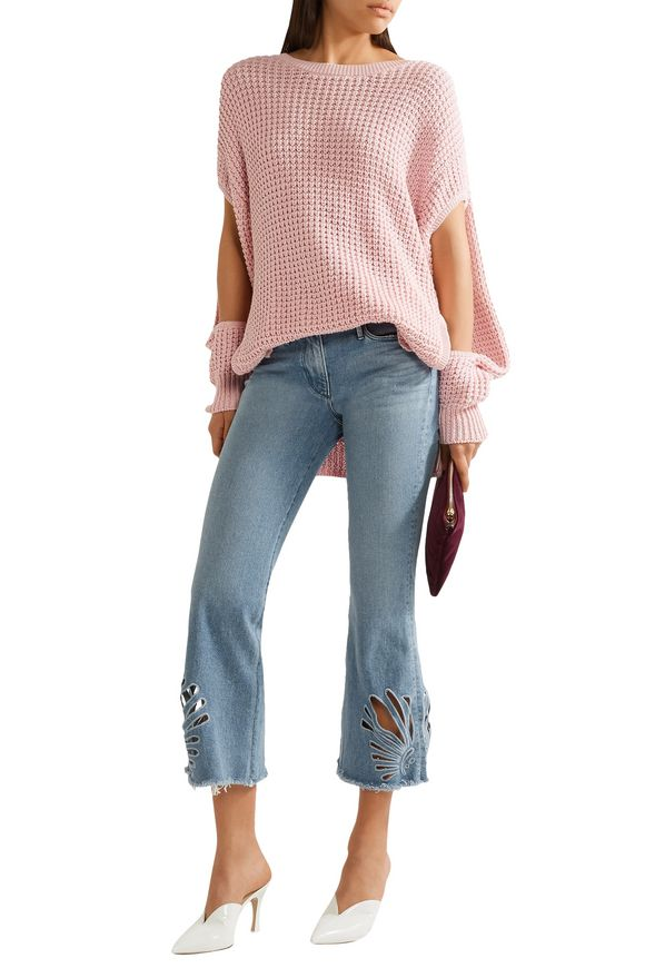 Cropped cutout high-rise bootcut jeans | 3x1 | Sale up to 70% off | THE  OUTNET