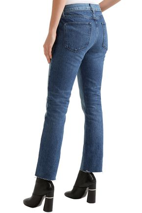 3x1 Von cropped two-tone mid-rise straight-leg jeans