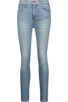 CURRENT/ELLIOTT Frayed faded high-rise skinny jeans