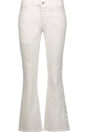 STELLA McCARTNEY Mid-rise cropped mesh-paneled slim-leg jeans