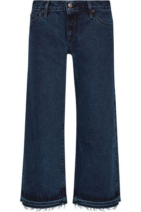 SIMON MILLER Varra cropped frayed low-rise wide-leg jeans