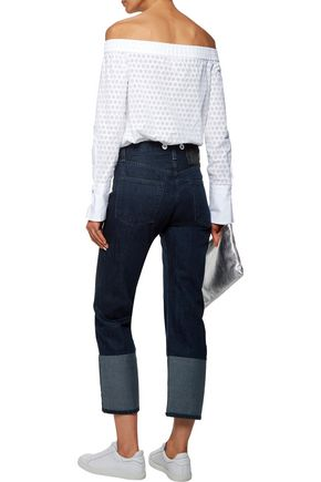RAG & BONE High-rise cropped two-tone embellished straight-leg jeans