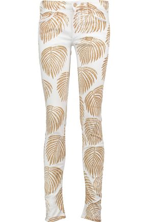 MOTHER The Looker printed mid-rise skinny jeans