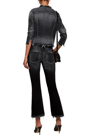 AMO Jane mid-rise cropped distressed flared jeans