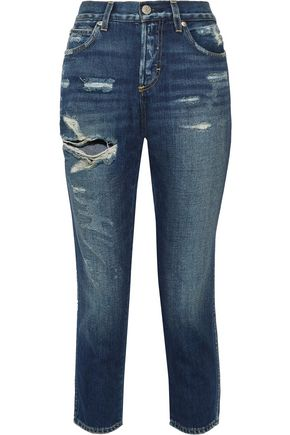 AMO Tomboy cropped distressed boyfriend jeans