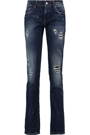 VIVIENNE WESTWOOD ANGLOMANIA Billy distressed mid-rise slim-leg jeans