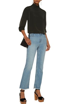 MAJE Paxi faded high-rise bootcut jeans