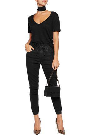 R13 High-rise coated slim-leg jeans