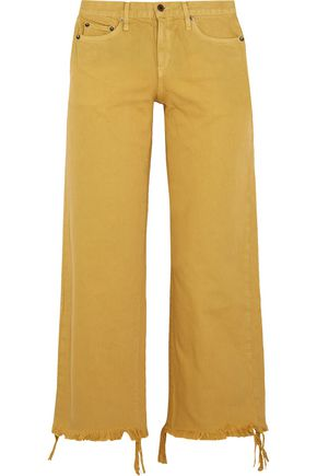 SIMON MILLER Varra low-rise cropped frayed wide-leg jeans