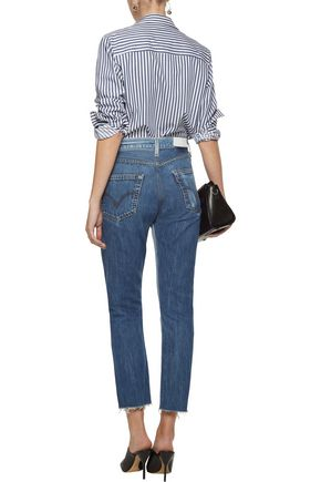 RE/DONE by LEVI'S Cropped paneled mid-rise straight-leg jeans