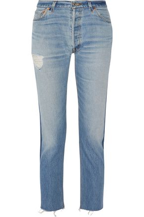 RE/DONE Mid-rise cropped two-tone slim-leg jeans