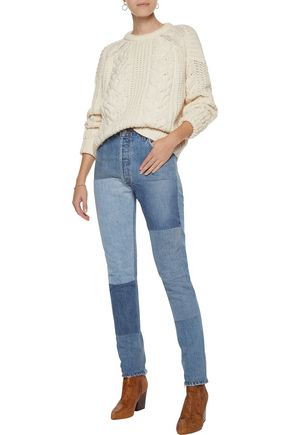 RE/DONE High-rise patchwork skinny jeans