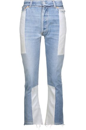 RE/DONE High-rise two-tone distressed flared jeans