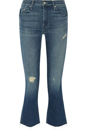 MOTHER The Insider cropped distressed high-rise flared jeans