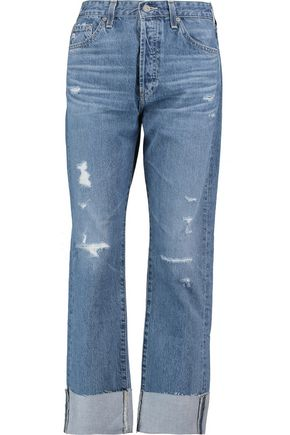AG Jeans The Sloan mid-rise distressed straight-leg jeans