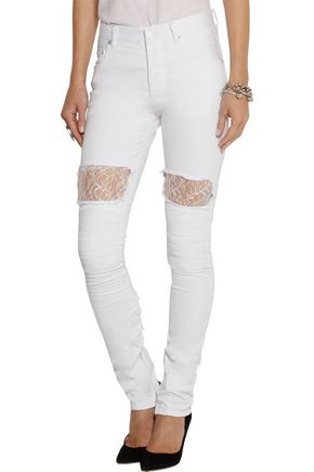 VINTI ANDREWS Lace-paneled mid-rise skinny jeans