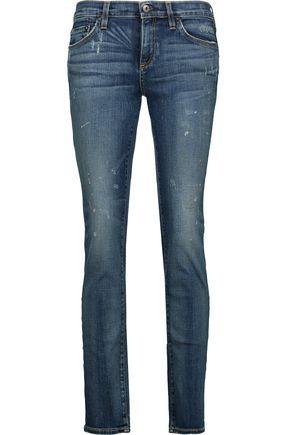 SIMON MILLER Distressed high-rise slim-leg jeans